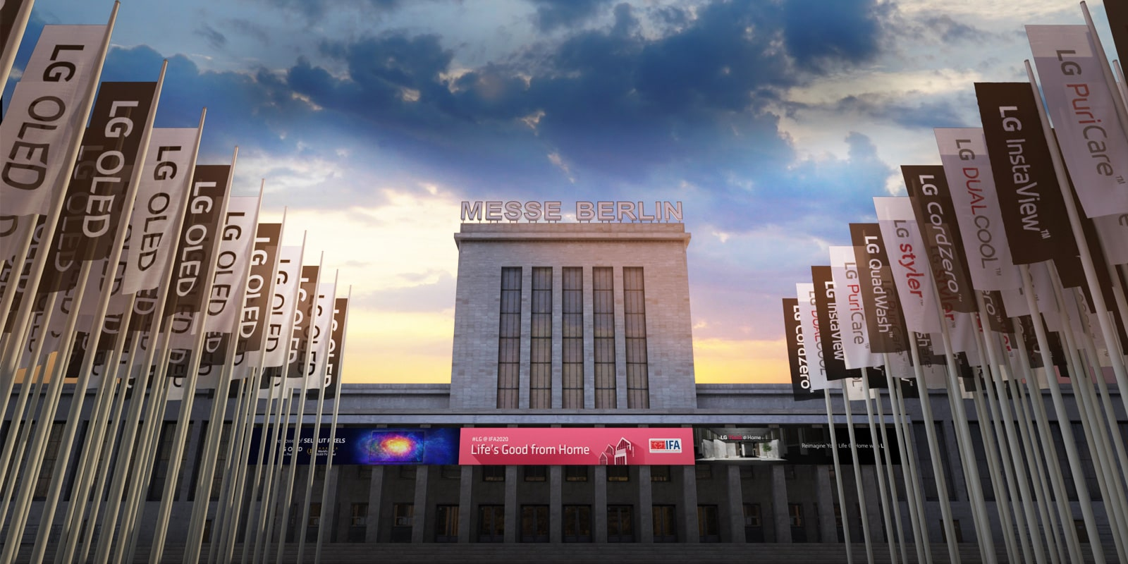 The Messe Berlin Sommergarten arena where IFA 2020 takes place is virtually visualized.
