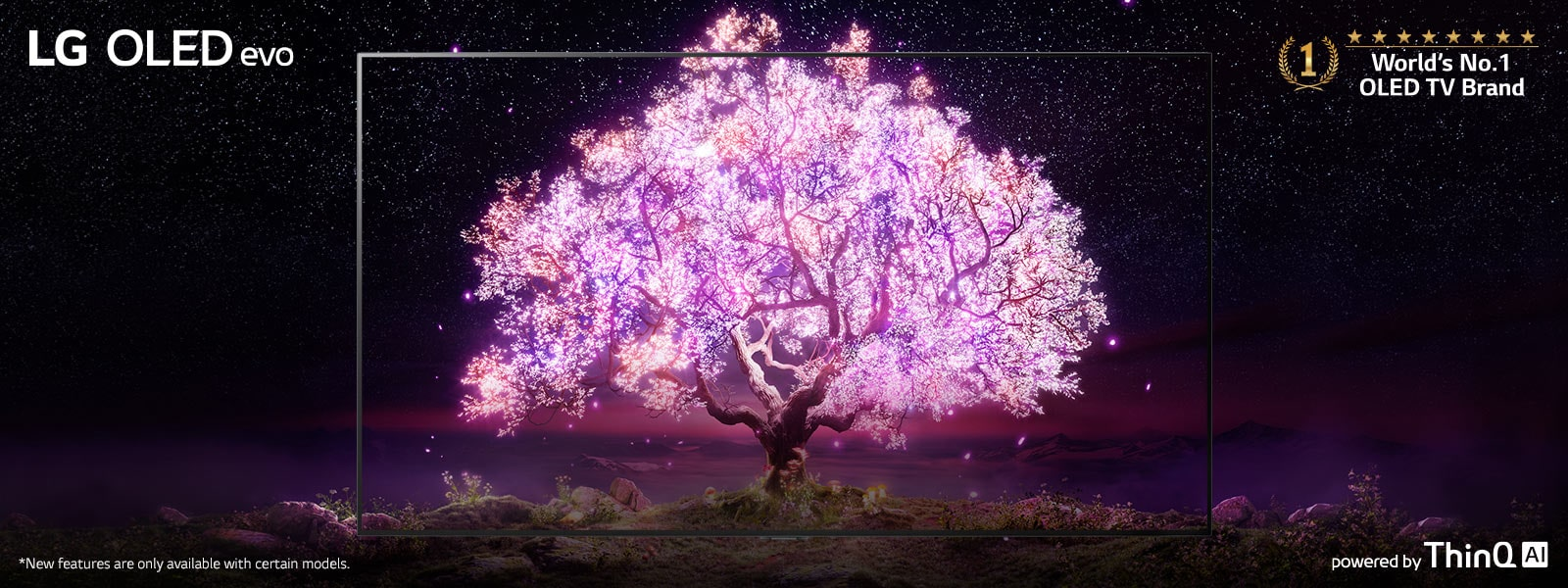 The scene where the OLED TV frame is overlapped with the image showing a tree shining in pink. The'World's No.1 OLED TV Brand' logo was placed on the upper right. The 'powered by ThinQ AI' logo was placed at the bottom right. 'LG OLED evo' logo was placed on the upper left corner.