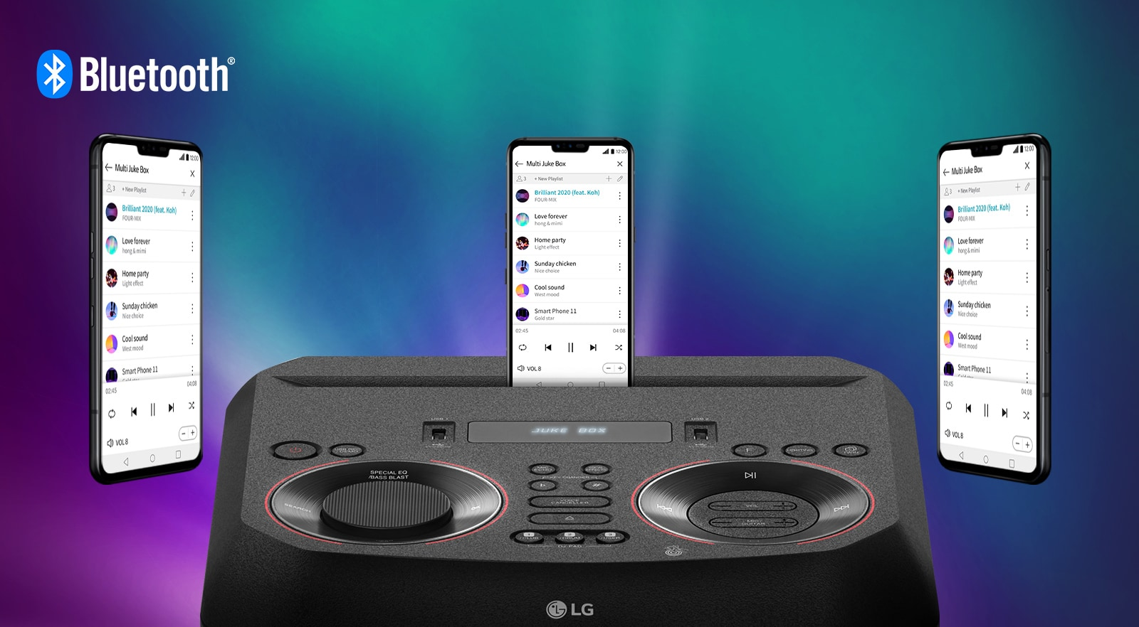 A smartphone is on an LG XBOOM with two other smartphones floating around it. A Bluetooth logo is in the upper left corner.