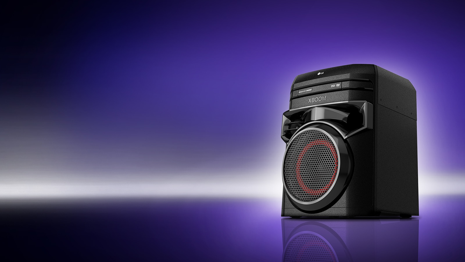 A low angle view of the right side of LG XBOOM against a purple background.