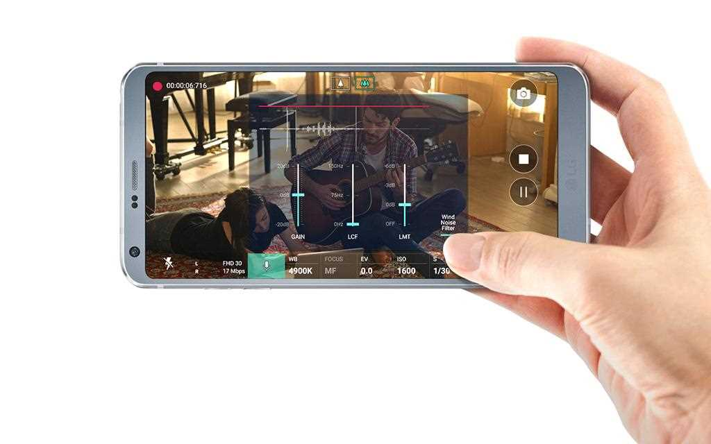 An image of lg g6 smartphone camera showing hi-fi video recording feature