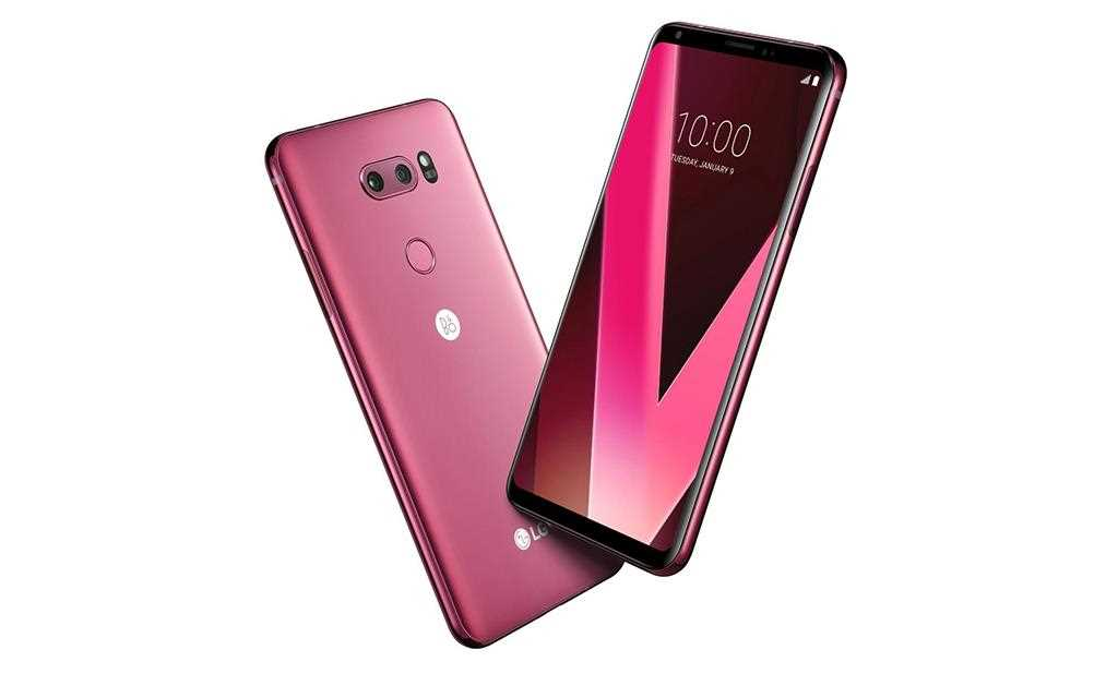 A dynamic angle image of lg's new v30 color - raspberry rose announced at ces 2018