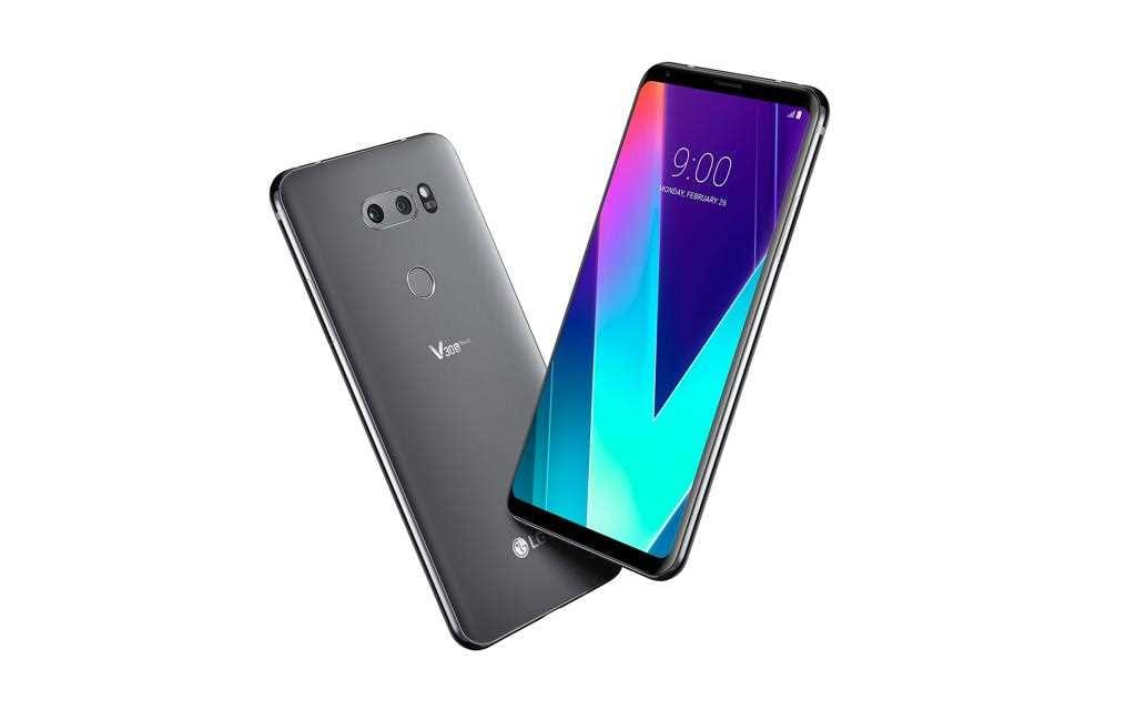 A dynamic angle of new lg v30s thinq image in platinum gray.