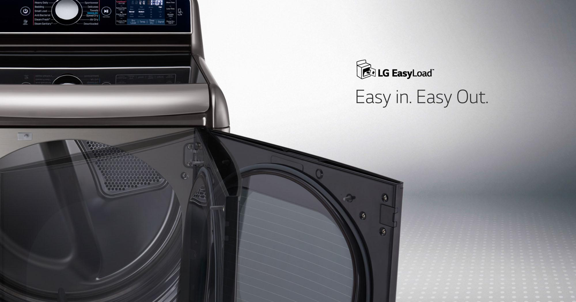 The LG DLEX7700VE electric dryer does laundry at the speed of life, thanks to the EasyLoad™ Door and other helpful technologies.