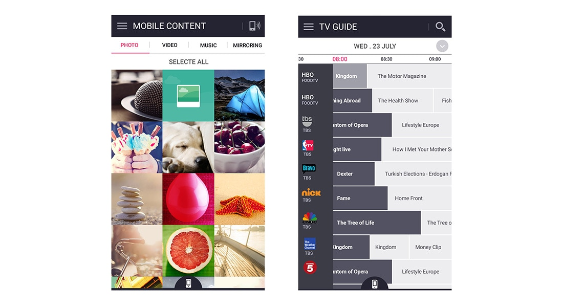 lg tv apps. to get started, download lg tv plus for your apple or android phone tablet from itunes google play. then, open the app, lg tv apps