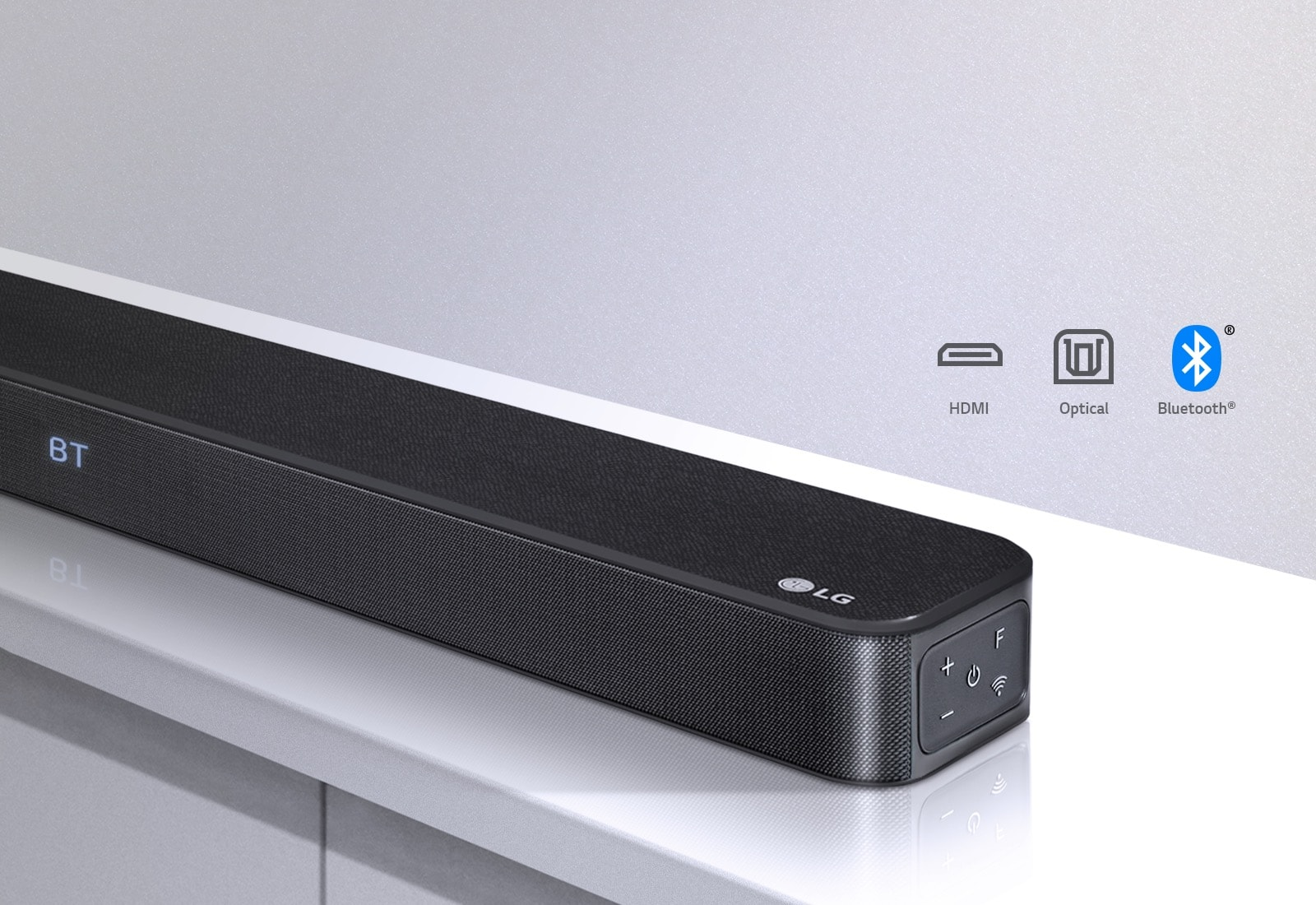 Powerful Audio and Sleek Design - sound bar on white stand with technology logos