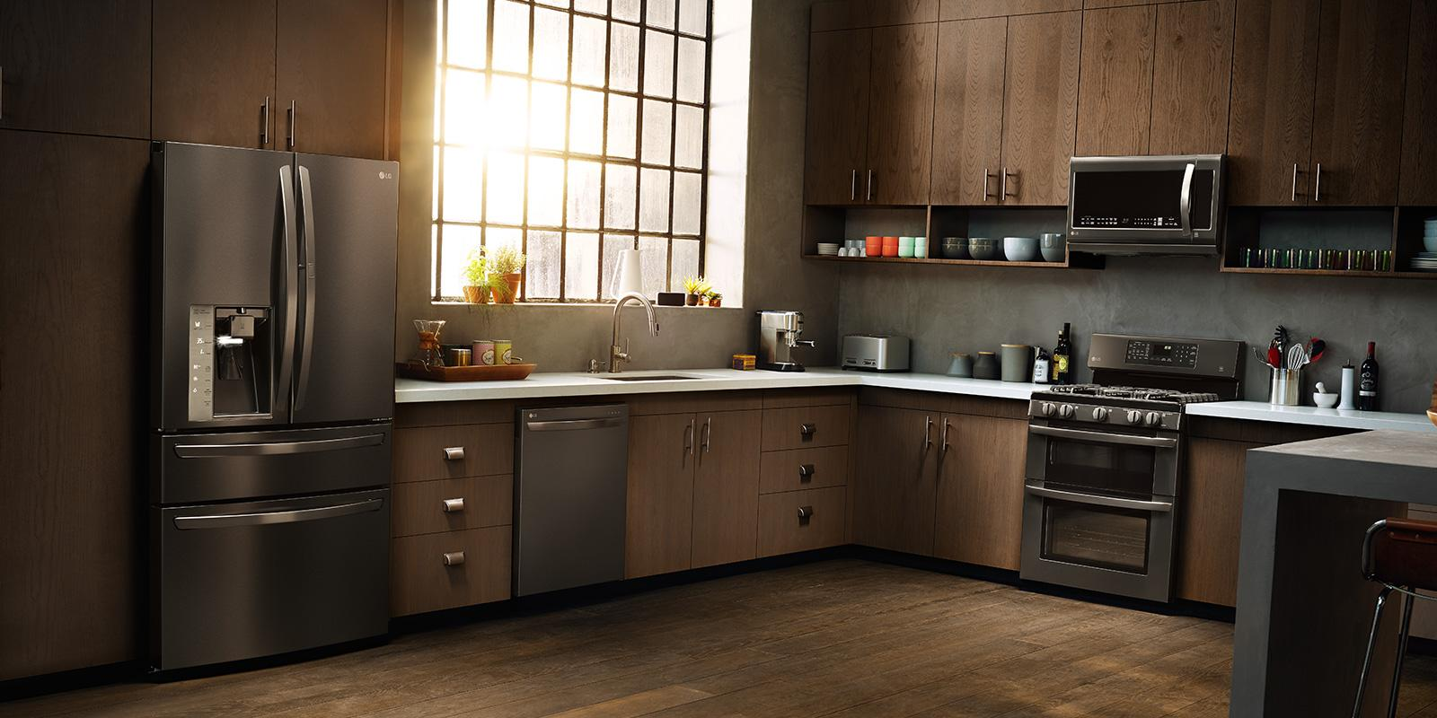 LG kitchen appliances in a modern kitchen, including an oven, a ...