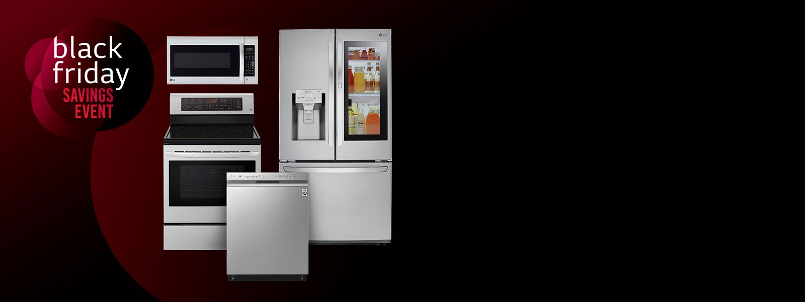 LG Appliance product collage on black background