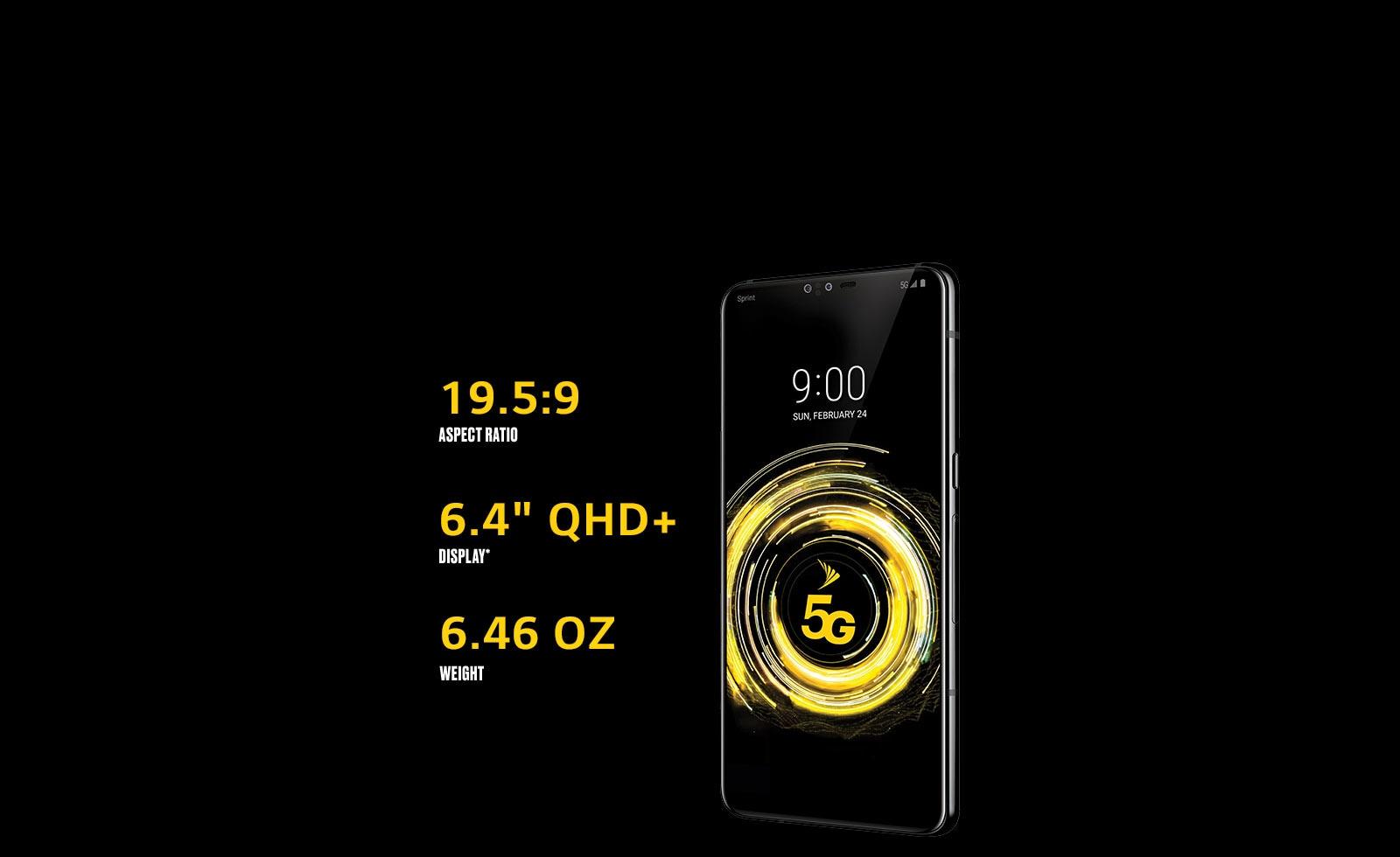 "The LG V50 ThinQ 5G. 19.5:9 aspect ratio. 6.4"" QHD+ display. 6.46 Oz weight."