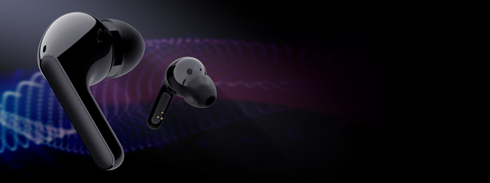 Introducing our cleanest audio ever LG TONE earbuds on black backgroun d with graphics