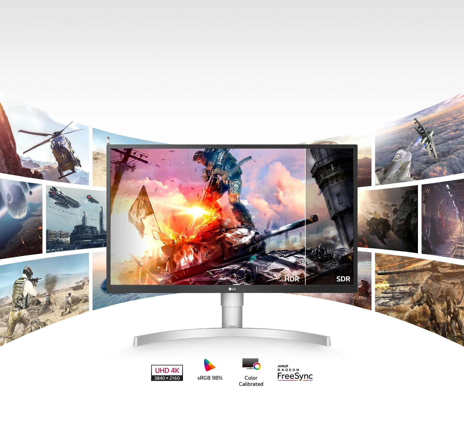 LG monitor display with video game graphics and multi-panel screens behind it.