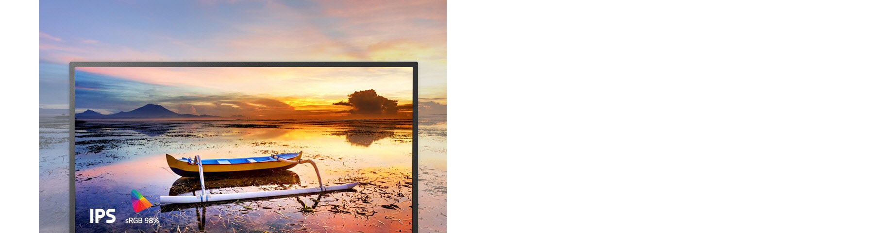 Screen display with a boat on a lake overlooking the sunset