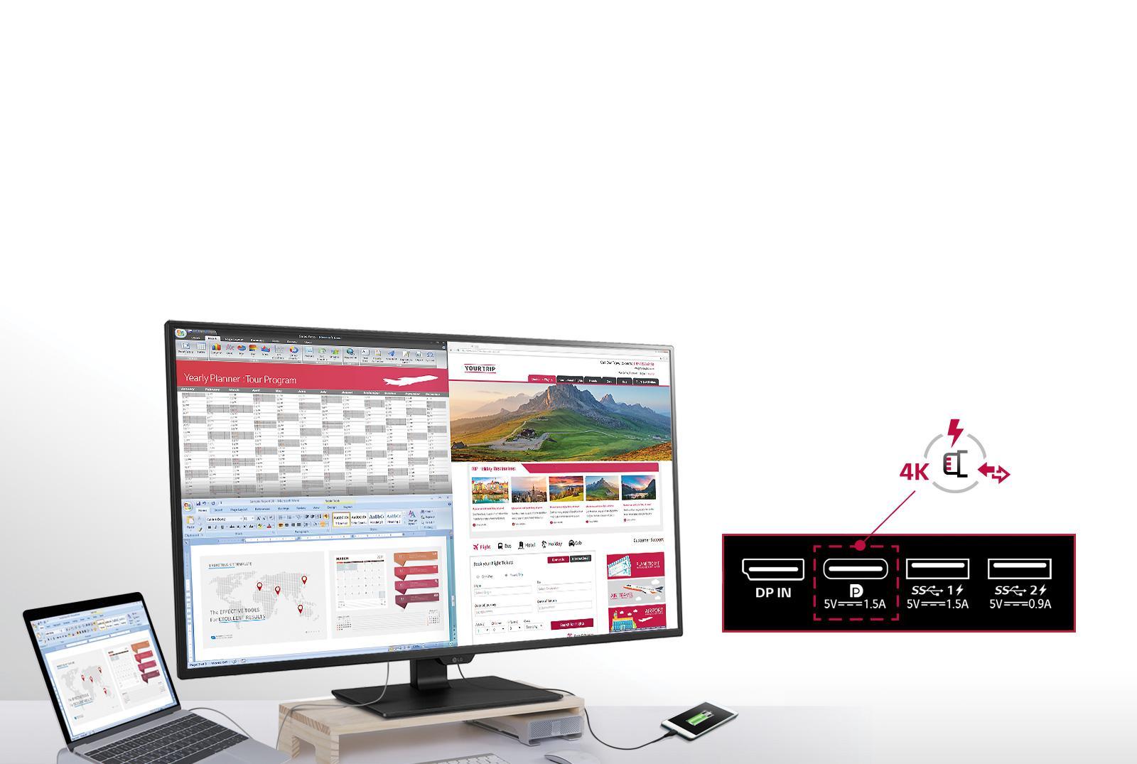 Monitor LG 4K simula la presenza di 4 schermi