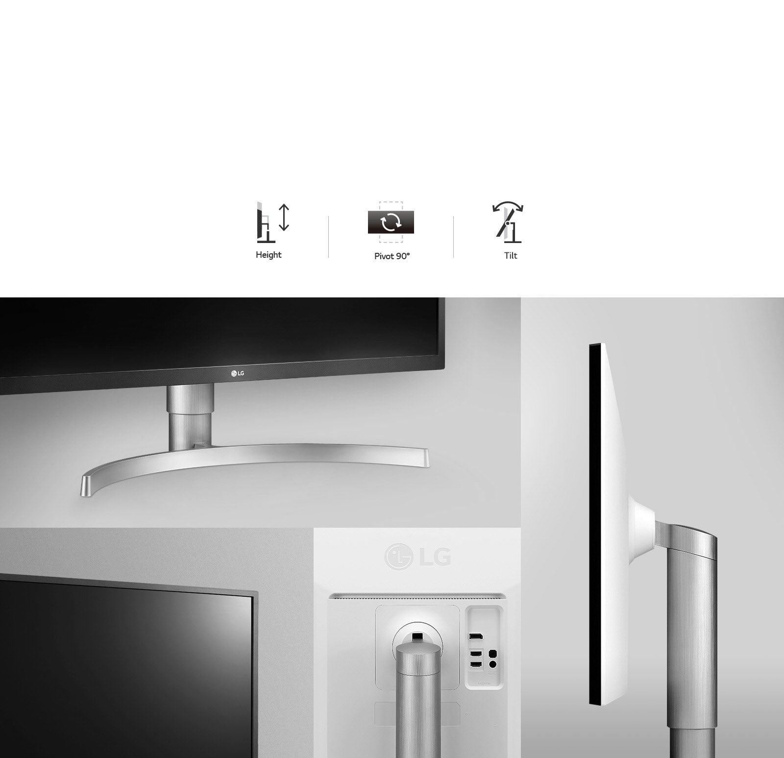 LG monitor images featuring the stand going up and down