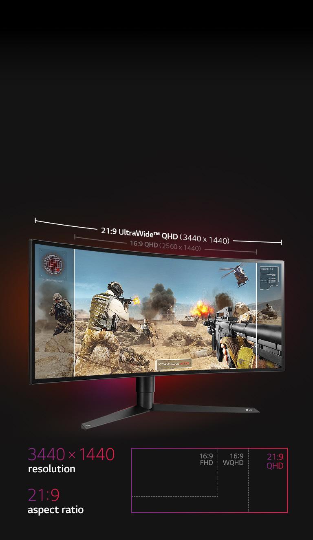 LG 34GK950G-W 34 inch 21:9 UltraGear™ QHD Curved Nano IPS Gaming Monitor  with NVIDIA G-SYNC™