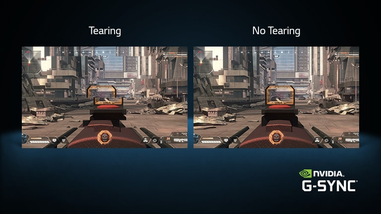 Two game scenes, one with tearing and the other on OLED TV without tearing