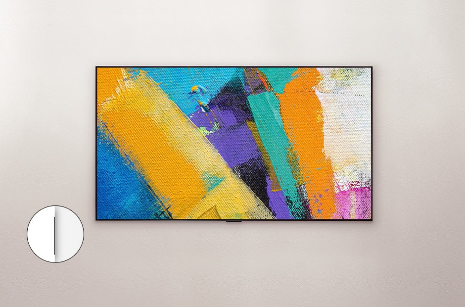 Front view of LG TV with abstract painting on screen