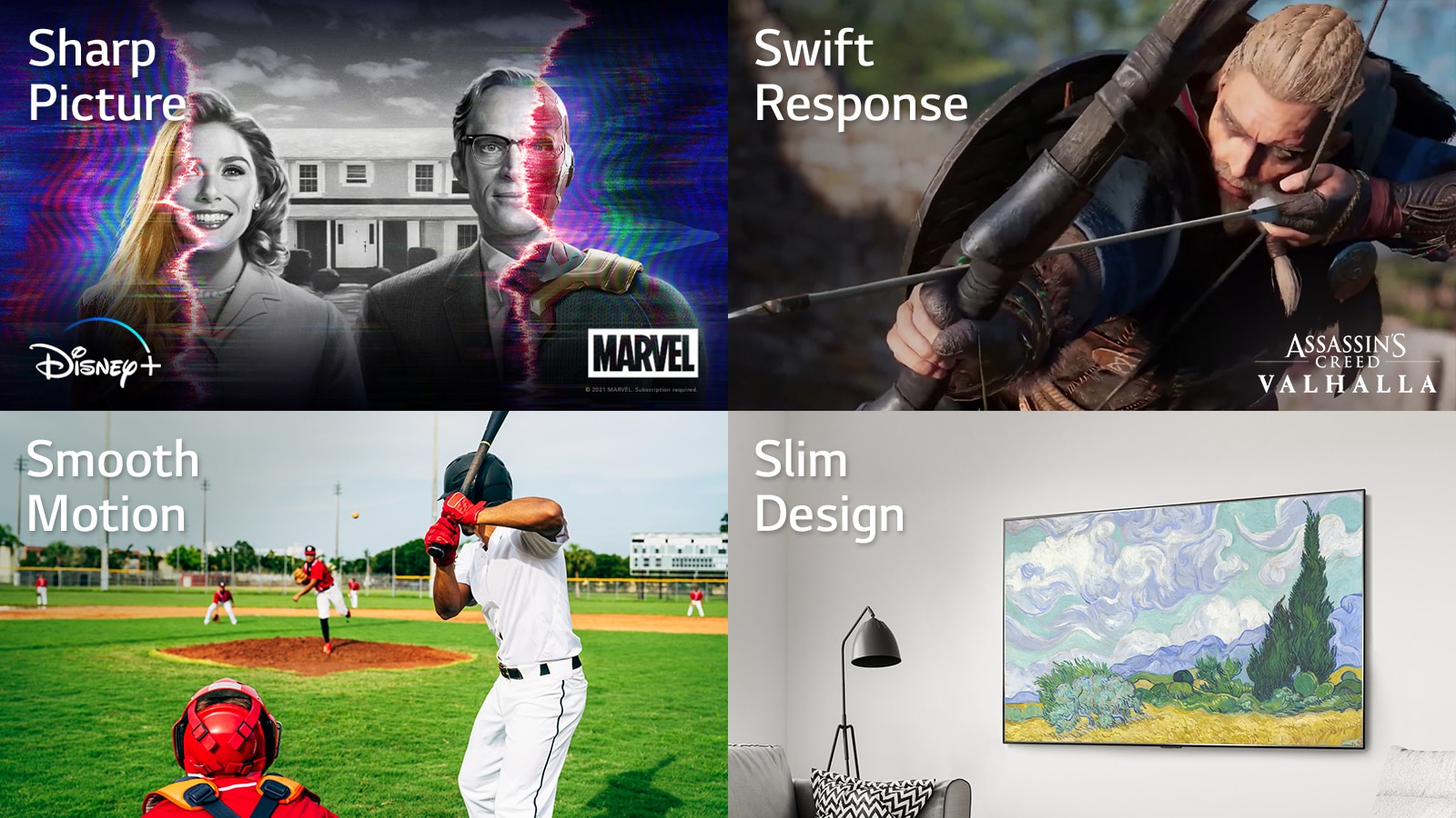 A scene from Marvel WandaVision on Disney+, A game scene from Assassin's Creed Valhalla, A hitter trying to hit a baseball during the game, A work of art on a TV screen hung on the wall.