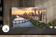 Luxury living room view of LG TV with city landscape on screen