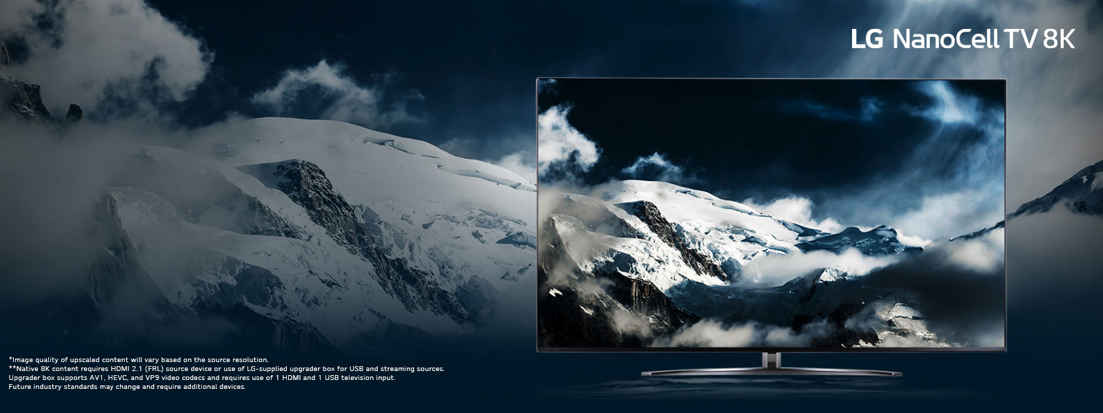 The Future of LED TV is 8K. - tv on mountainous landscape background