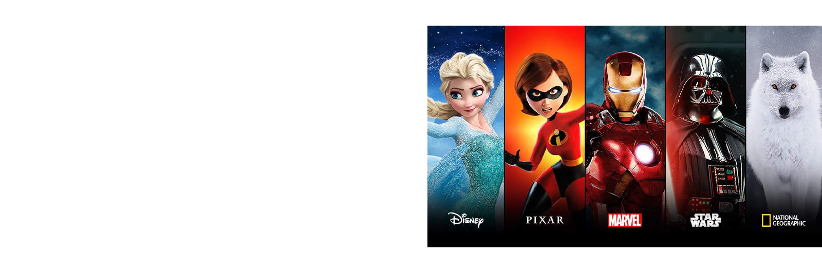 Disney Frozen, Pixar Incredibles, Marvel Iron Man, Star Wars, and National Geographic title cards