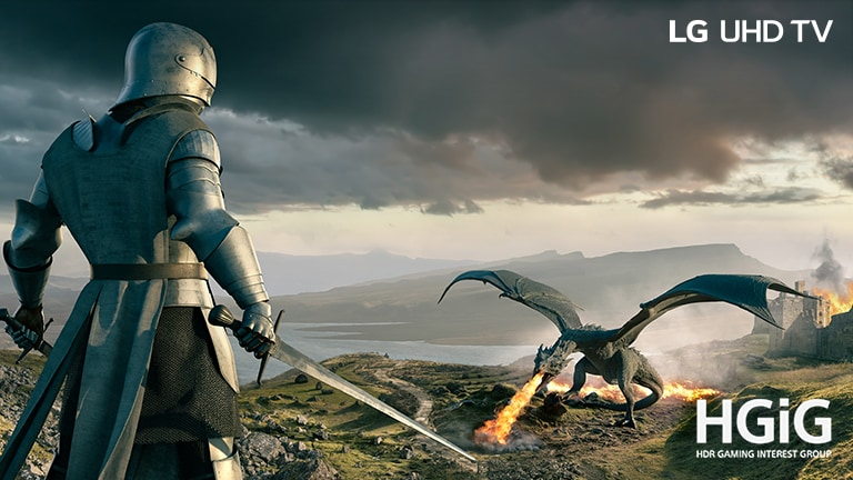 A knight in an armor with a sword and a dragon blowing out fire are facing each other. On the image, there are texts of Conventional on the upper left, LG UHD TV on the upper right, and a HGiG logo on the bottom right.