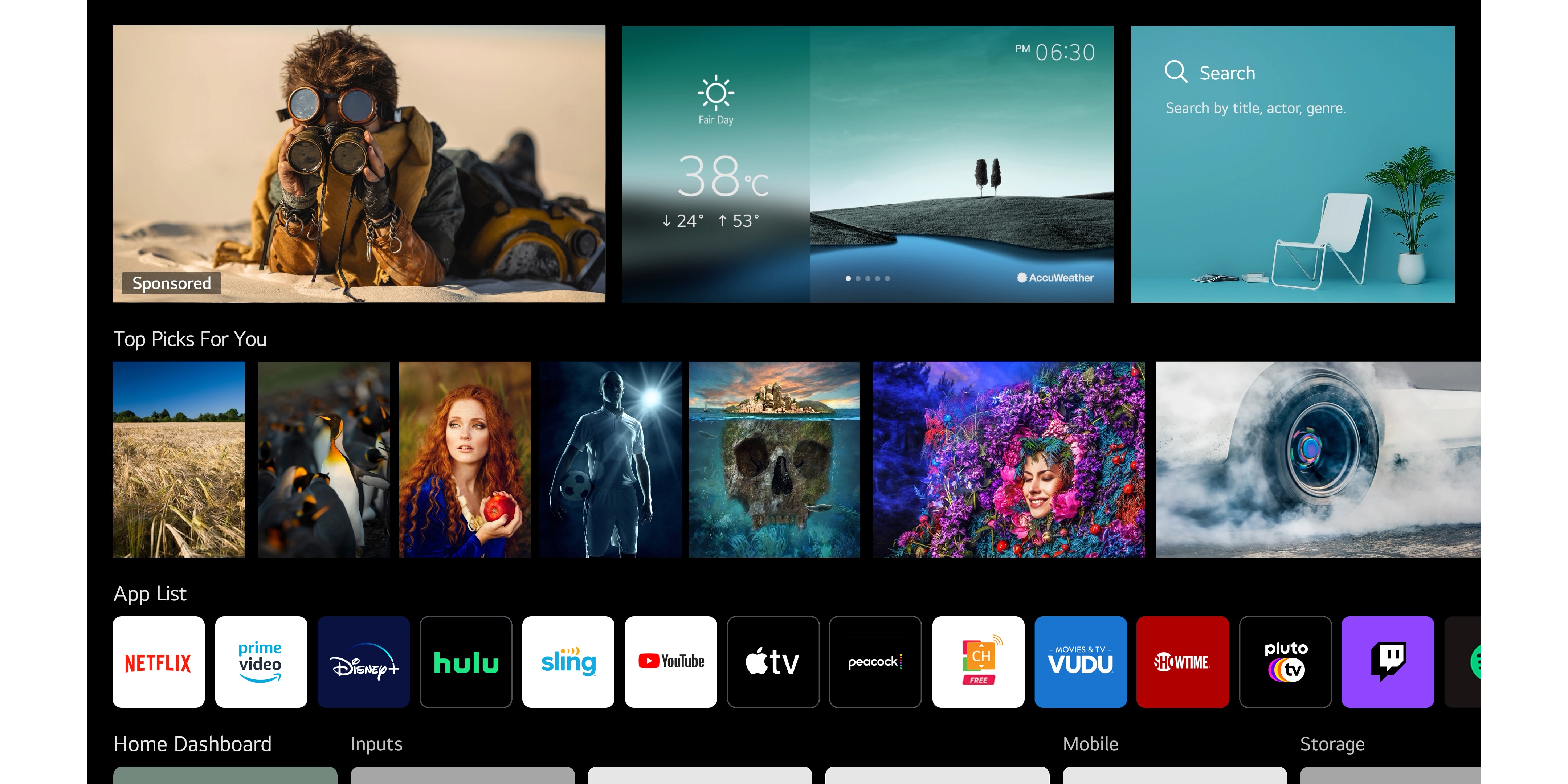 A TV screen showing various contents listed and recommended by LG ThinQ AI
