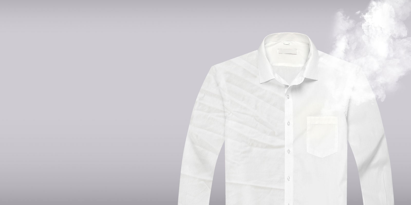 Wrinkle Care Before and After of a white dress shirt