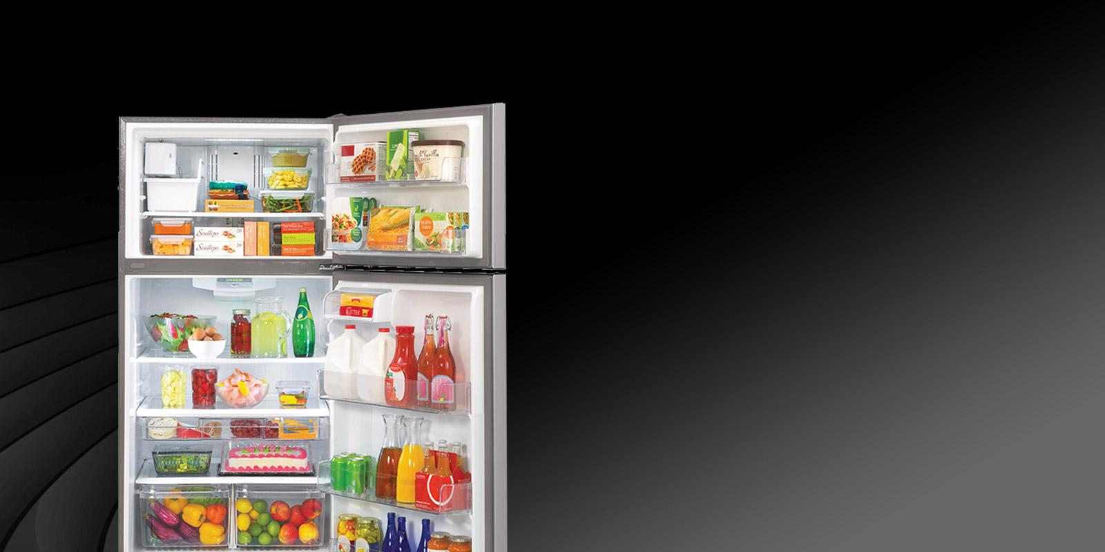Front view of an LG refrigerator with a top freezer.