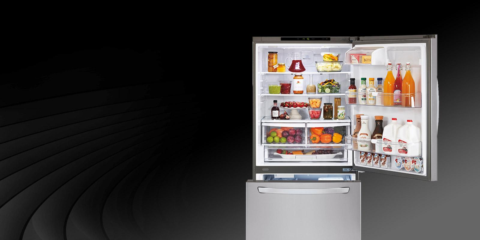 Front view of an LG refrigerator with a bottom freezer.