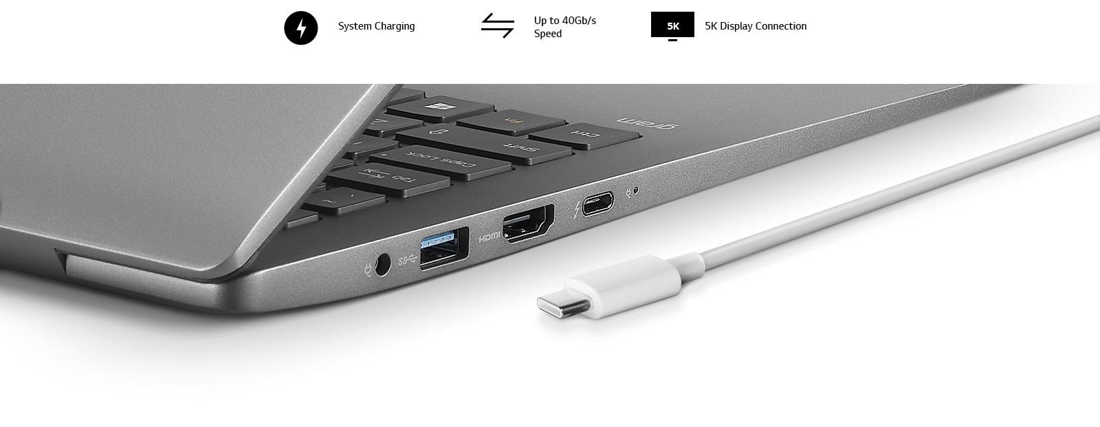 15.6 inch gram laptop Thunderbolt 3 port
