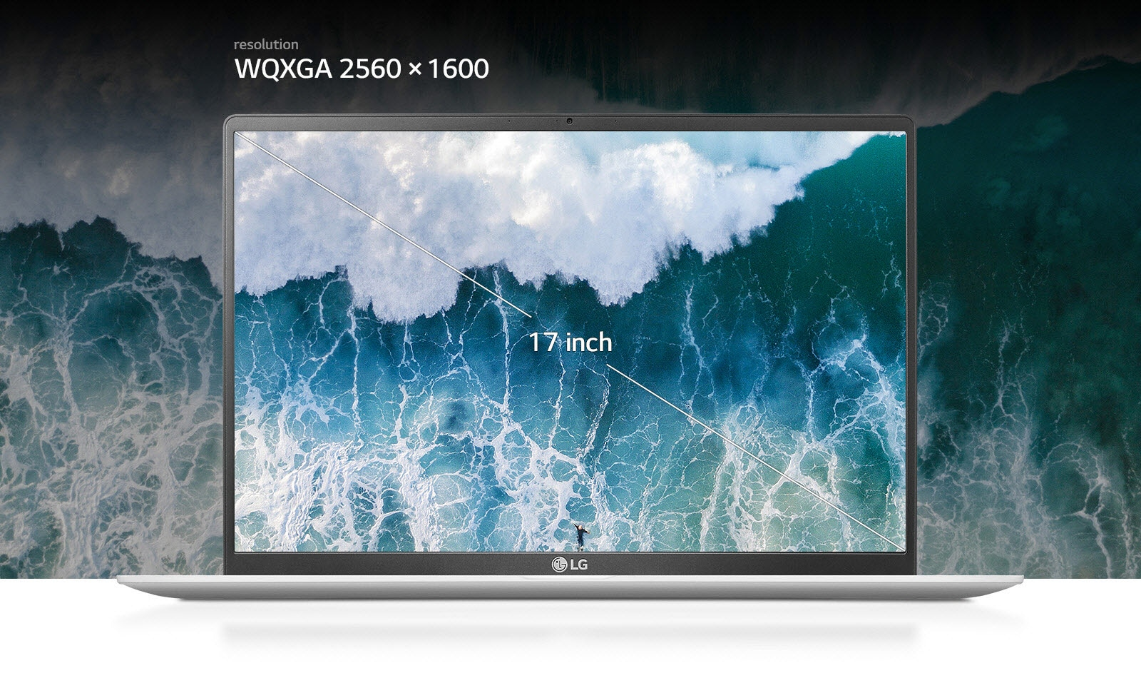 17 inch gram laptop IPS Display with 16:10 aspect ratio