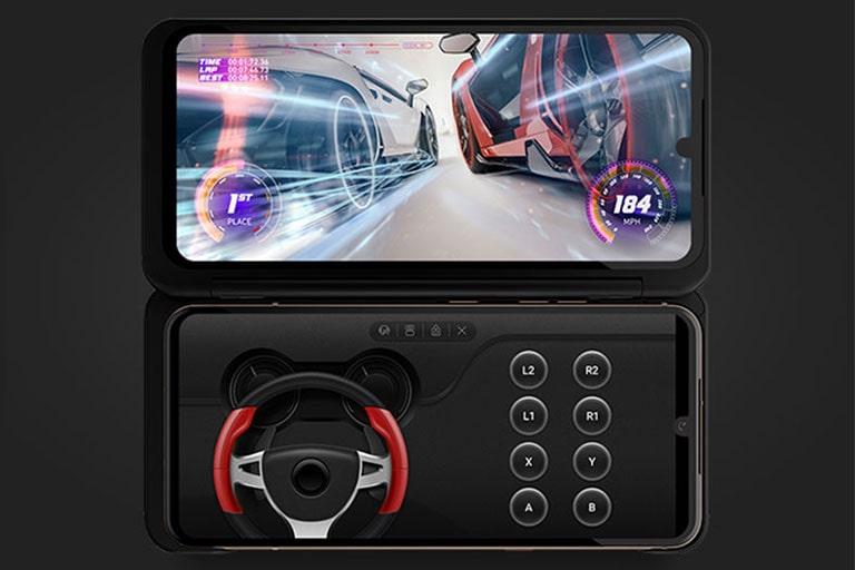 Tres imágenes horizontales de los teléfonos LG V60 ThinQ ™ 5G con pantalla dual