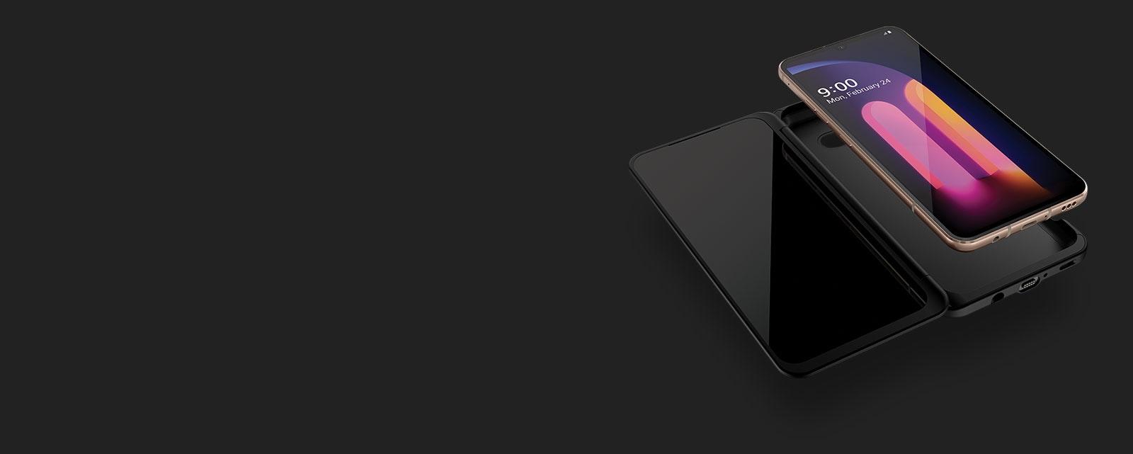 Imagen del teléfono LG V60 ThinQ ™ 5G separado de LG Dual Screen ™