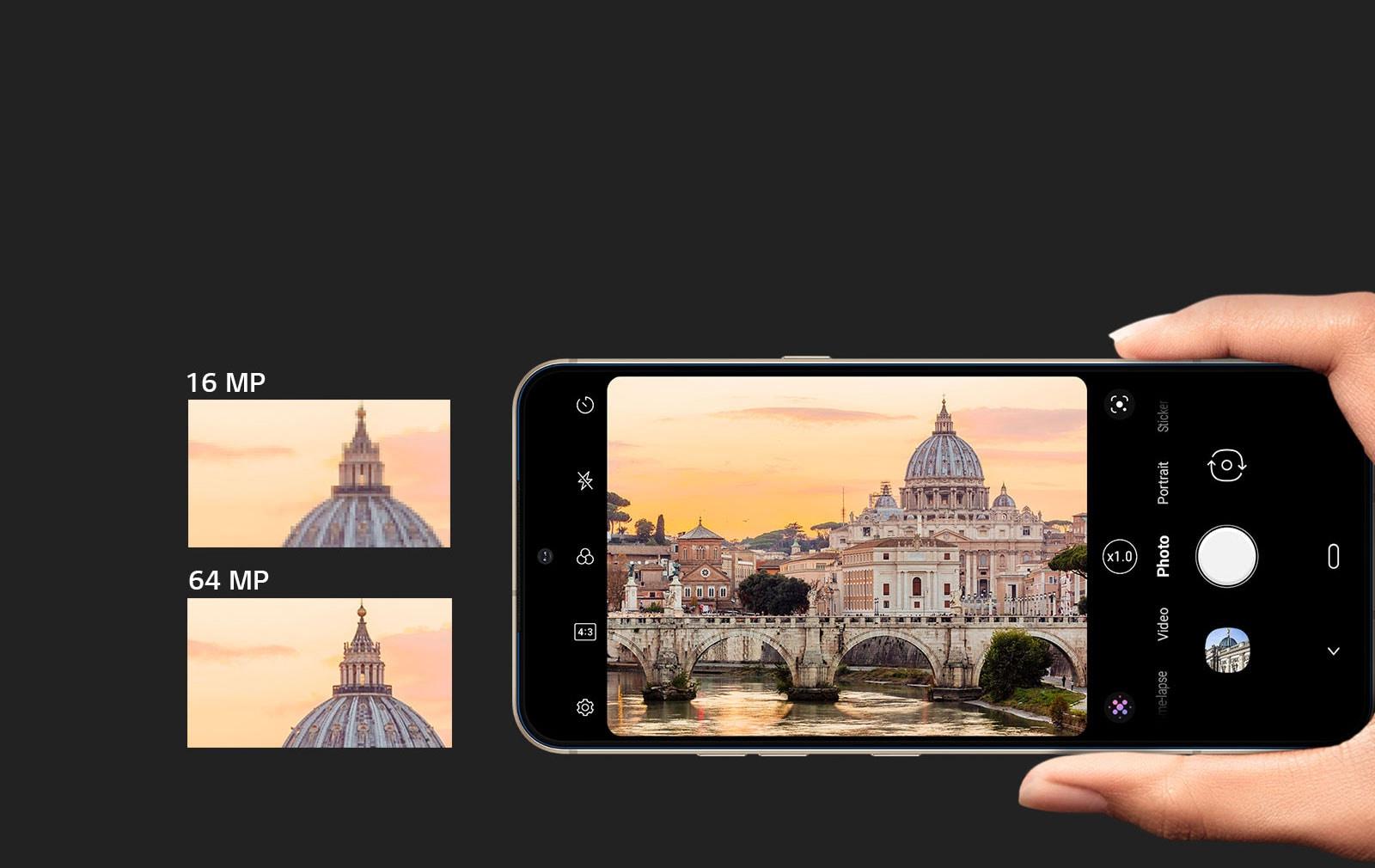 Teléfono para tomar fotografías de edificios con cámara trasera de 16 MP y 64 MP