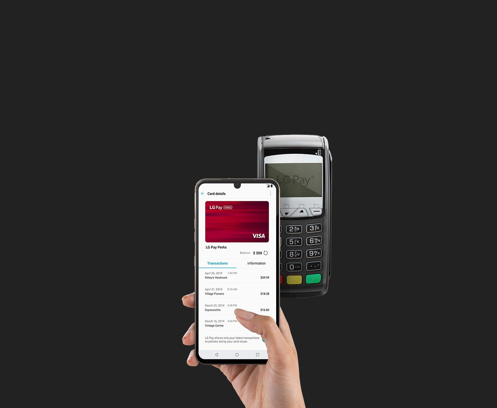 Image of phone using LG Pay®