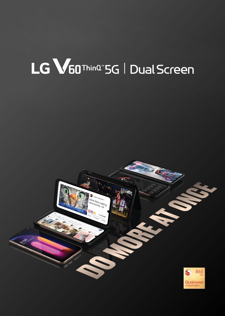 Image of multiple LG V60 ThinQ™ 5G phones with LG Dual Screen™