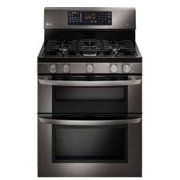 lg black stainless steel series 61 cu ft capacity gas double oven range with