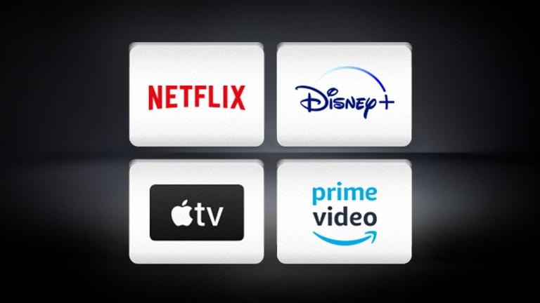 The Netflix logo, the Disney+ logo, the Apple TV logo, the Amazon prime video are arranged horizontally in the black background.