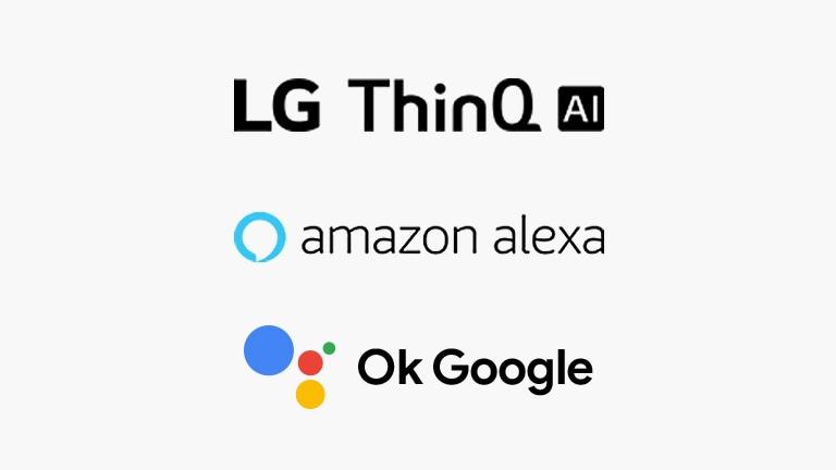 LG NanoCell TV voice command apps include LG ThinQ AI logo, Hey Google logo, and Amazon Alexa logo