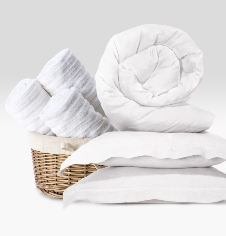 Laundered comforter, pillows and towels