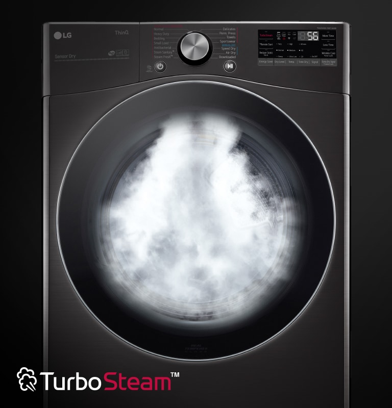 Dryer showcasing TurboSteam™ technology feature