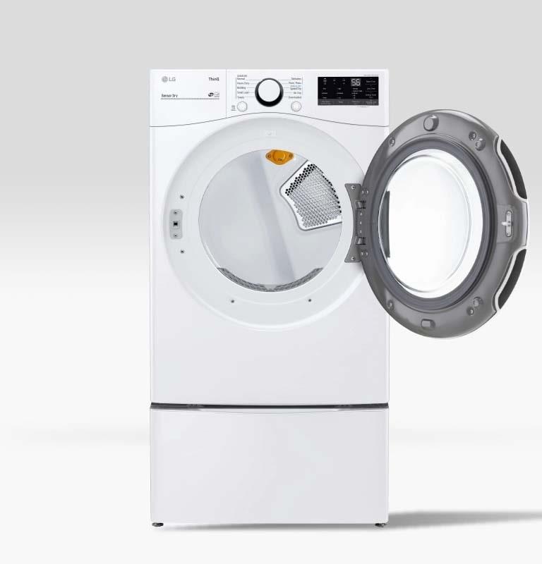 Washer showcasing reversible door