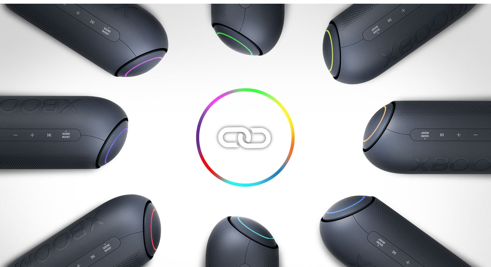On a white background, eight LG XBOOM Go with various lights are placed in a circle around a link icon.