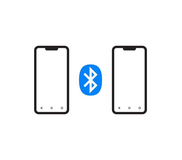 There is a Bluetooth logo between two smartphone icons.
