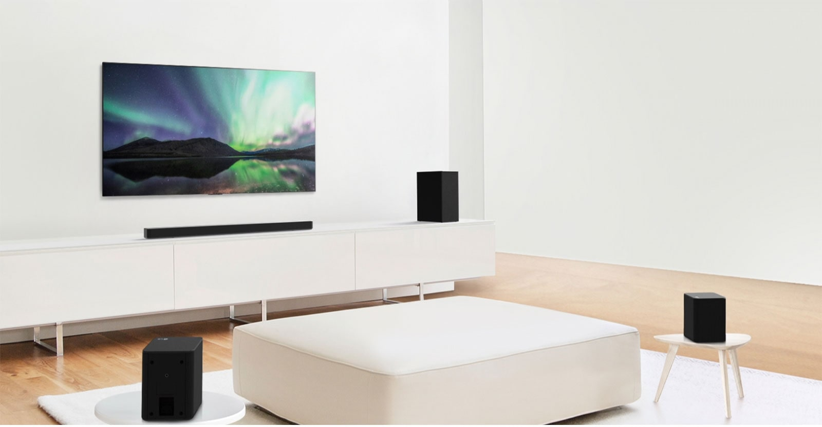 Video preview showing LG Soundbar in a white living room with 5.1 channel setup.