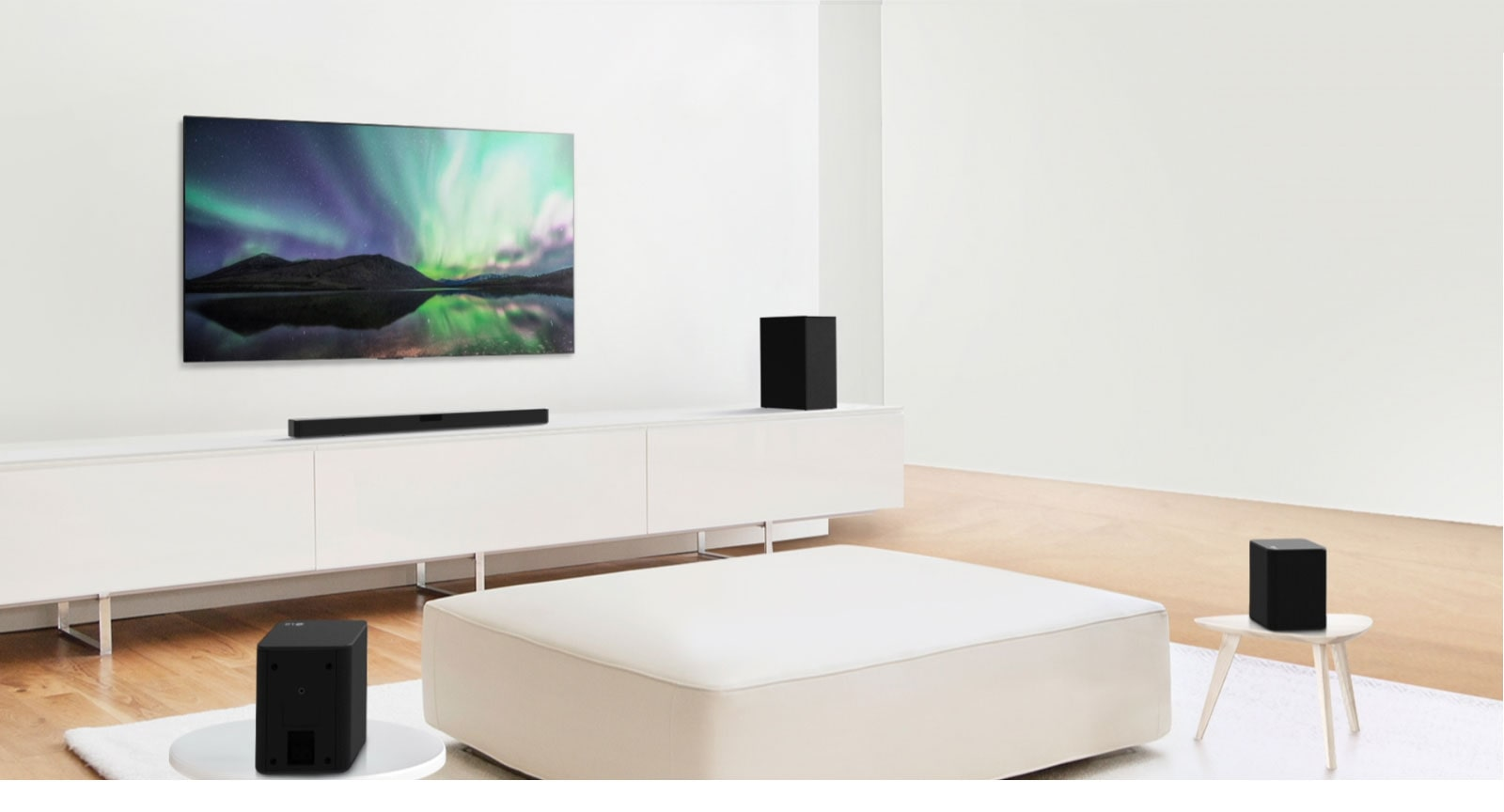 Video preview showing LG Soundbar in a white living room with 4.1 channel setup.