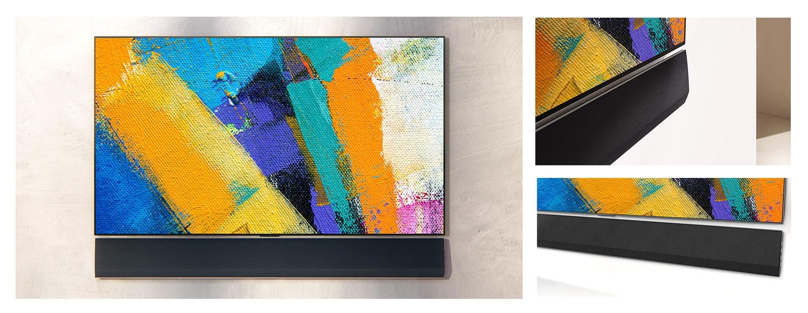 Stenska LG Soundbar in LG TV sta prikazana s treh zornih kotov.  Na TV zaslonu so prikazane različne barve barv.