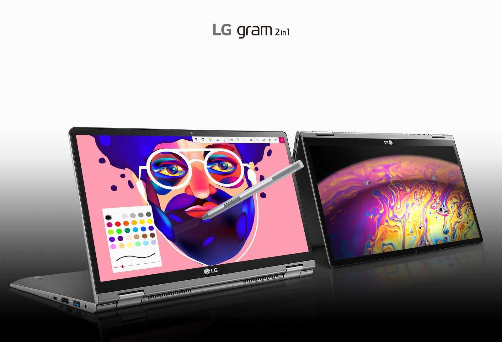 Image of two grams, one with pen and with colorful graphics on the screen