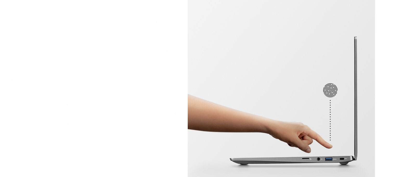 Image of a side view of a laptop with a finger pointing towards the fingertip reader